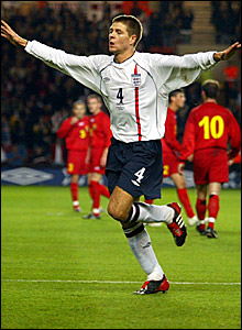Steven Gerrard celebrates scoring England's equaliser in the 2-2 draw with Macedonia at Southampton's St Mary's Stadium