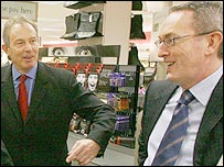 Tony Blair and John Hutton at Marks and Spencer's in Brent Cross, north London