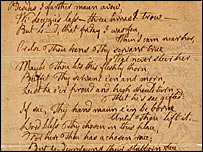 Burns' manuscript (picture courtesy of Dumfries and Galloway Council)