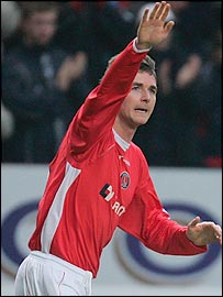 Bryan Hughes celebrates his goal