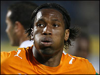 Didier Drogba celebrates scoring for Ivory Coast