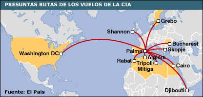 Gráfico de las presuntas rutas de los vuelos de la CIA