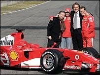 Ferrari's team manager Jean Todt, Brazilian driver Felipe Massa, chairman Luca Cordero di Montezemolo, and Michael Schumacher