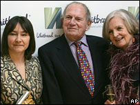 Ali Smith (l), Christopher Logue and Hilary Spurling