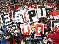 Egyptian fans at the Group A game against Morocco