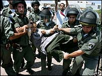 Israeli troops carry away a Jewish protester in Gaza