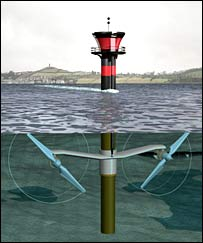 Artist's representation of the Strangford Narrows tidal turbine.  Image: Marine Current Turbines