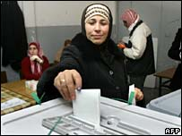 Palestinian woman casts her vote in Ramallah, West Bank