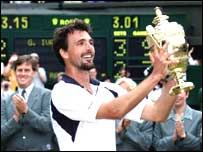 Goran Ivanisevic after winning the Men's Singles in 2001