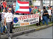 The Puerto Rican delegation at an anti-imperialism demonstration