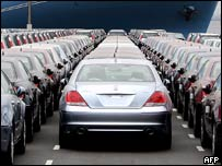 Honda cars waiting for export