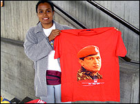 Street vendor Luz Castillo with her best-selling Hugo Chavez T-shirt