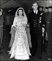 Elizabeth and Philip leave Westminster Abbey