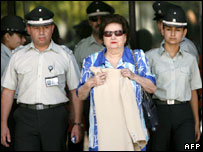 Gen Pinochet's wife, Lucia Hiriart, after being granted bail