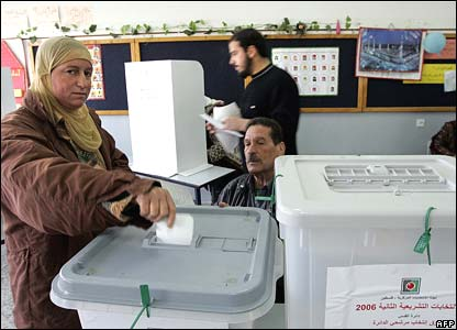 A woman votes in East Jerusalem