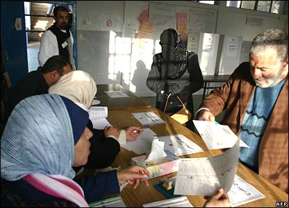 Voters at a polling station in Ramallah