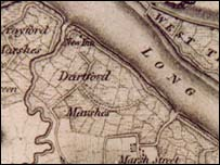 Dartford marshes 1801 - the first map produced by Ordnance Survey