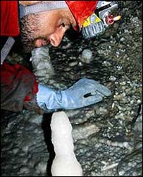 Man looking at a stalagmite