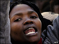 South African woman protesting