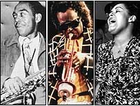 From left: Charlie Parker, Miles Davis and Billie Holiday