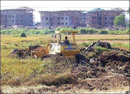Buildings supposed to be built for use by the government are under construction in Pyinmana, Sunday, Dec. 4, 2005.