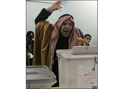 A Palestinian votes at a polling station in Gaza City