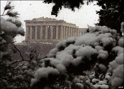 The Parthenon in Athens is shrouded in snow