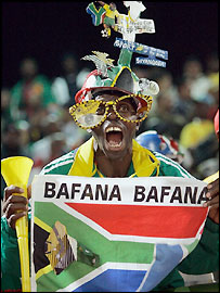 A South Africa fan watches their defeat to Guinea