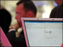Person using Google's search engine