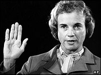 Sandra Day O'Connor being sworn in, 1981
