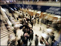 Participants move around in the main lobby at the World Economic Forum in Davos