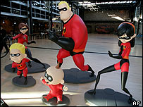 Superhero characters from Pixar's movie The Incredibles
