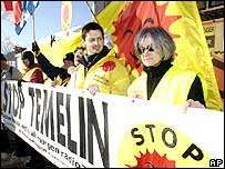 Protest against the Czech nuclear power plant at Temelin