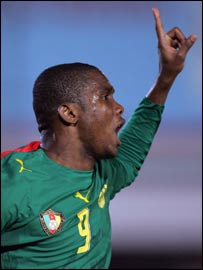 Cameroon and Barcelona's Samuel Eto'o celebrates a goal
