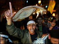 Fatah supporters celebrate in Gaza