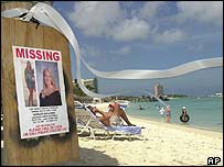 Missing poster on an Aruba beach