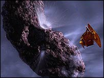 The impactor approaches Tempel 1