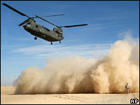 A US Chinook helicopter lands in Afghanistan