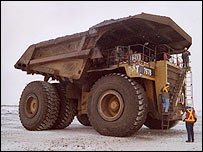 400-tonne trucks are used to transport the oil sands