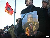 Mourners in Pristina