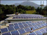 Photovoltaic cells making up a large array of solar panels at Chambery, France