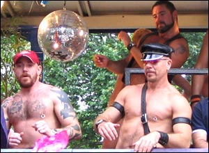 Men on a float in Pride procession