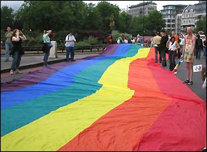 Rainbow flagged unfurled in Park Lane