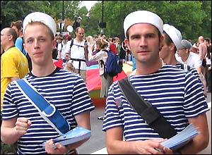Marchers in sailor uniforms