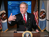 President Bush speaking at the National Security Agency