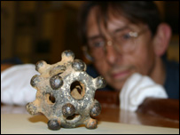 Dr Keith Ray with Hereford's dodecahedron