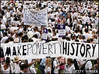 Making Poverty History banner in crowd