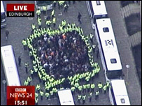 Aerial shot of police incident