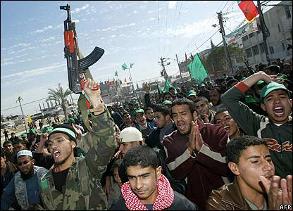 Hamas supporters celebrate at a Rafah refugee camp in southern Gaza Strip