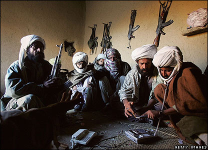 Bugti tribal militiamen gather in Dera Bugti in the Pakistani province of Balochistan